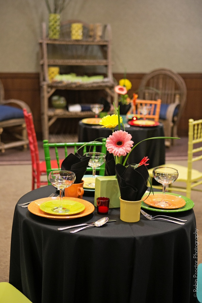 Colorful chairs and dishware