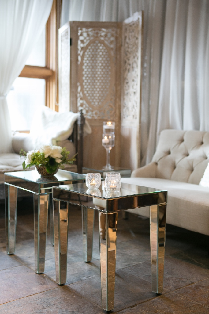 Mirror glass end tables