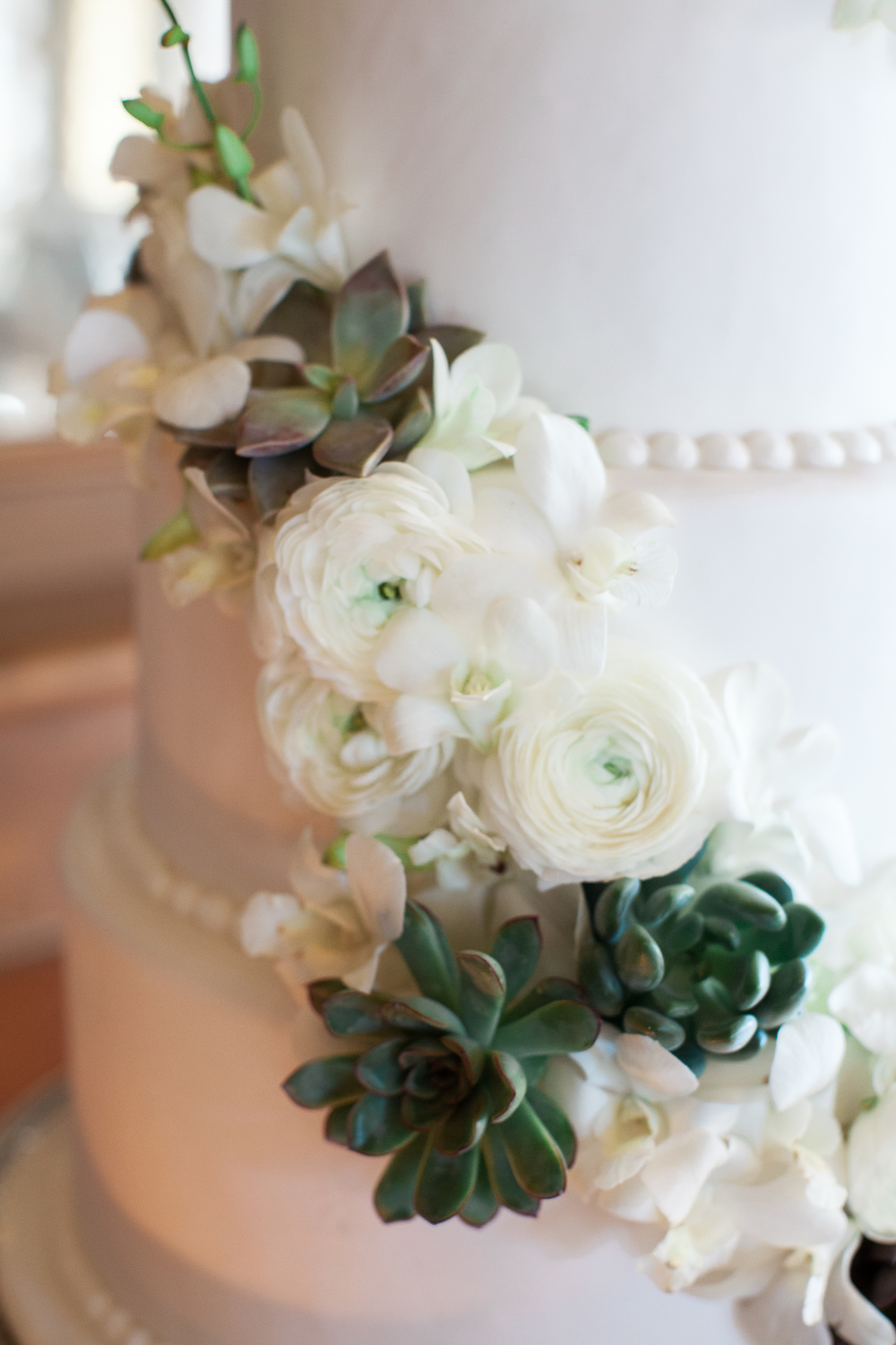 Cake detail succulents and ranunculus