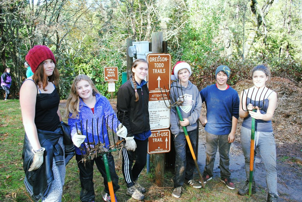 Throughout the year 7th & 8th grade John Muir School students steward the Woods.