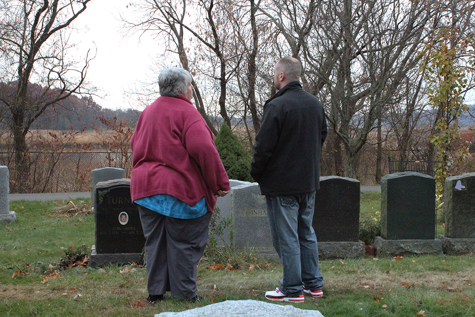 "Janet Connors meets at her son's grave with ""AJ,"" one of the men responsible for his murder."
