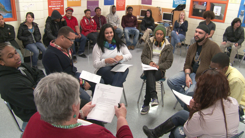 A restorative justice training at Charlestown High School in Boston