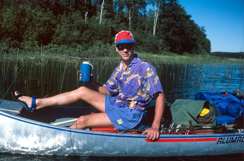 """Walleye Don"" Bugler worked at Active Endeavors in Iowa City when it was on Linn St. in the 1980's. Here he poses on the Turtle River north of Atikokan, Ontario. Photo by James Tade."