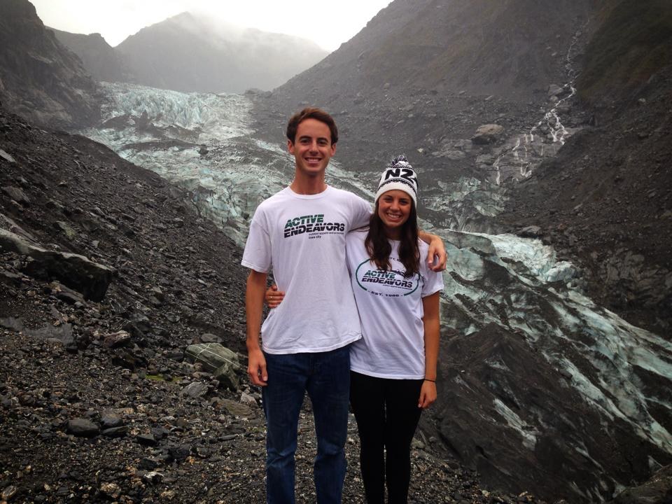 Arian & Teddi hiking glaciers in the Southern Alps of New Zealand.
