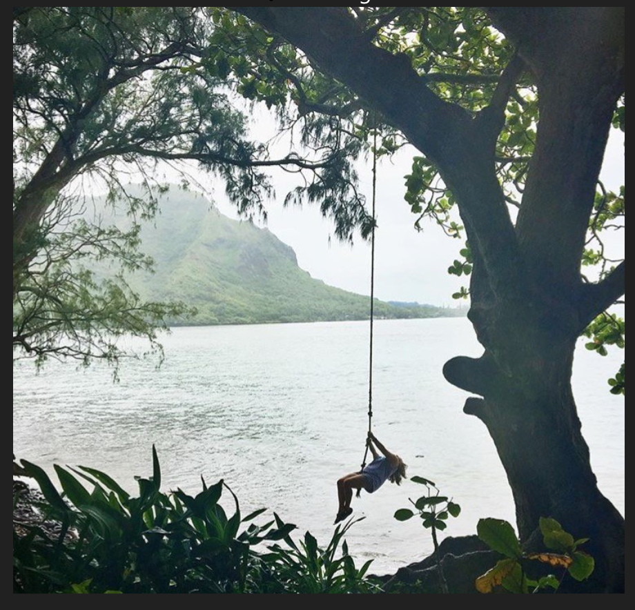 Morgan swinging out  into the bay of Kahana, HI in August 2016.
