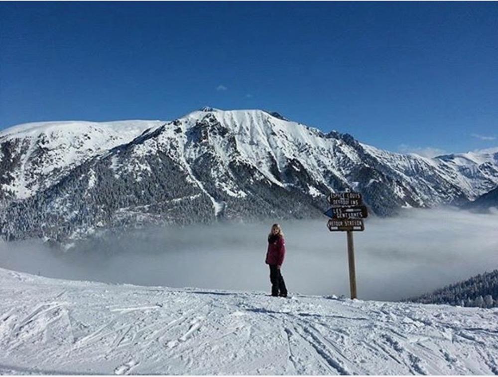 Elena skiing in Alpe du Grand Serre, France. Jan 2017.