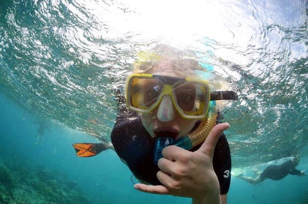 Elena snorkeling The Great Barrier Reef, Australia. Jan 2017.
