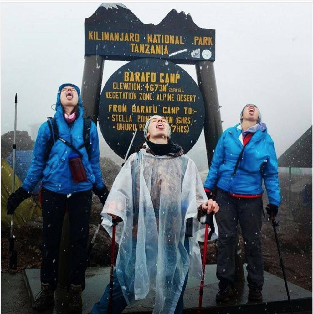 Catharine & friends preparing to climb Mount Kilimanjaro, Tanzania. Jan 2017.