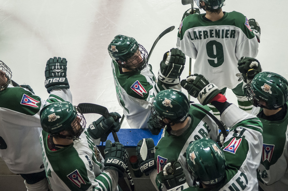 Ohio University's varsity hockey team prepares for their game against Alabama University at Ohio's Bird Arena on Friday, Nov. 13, 2015 in Athens, Ohio.