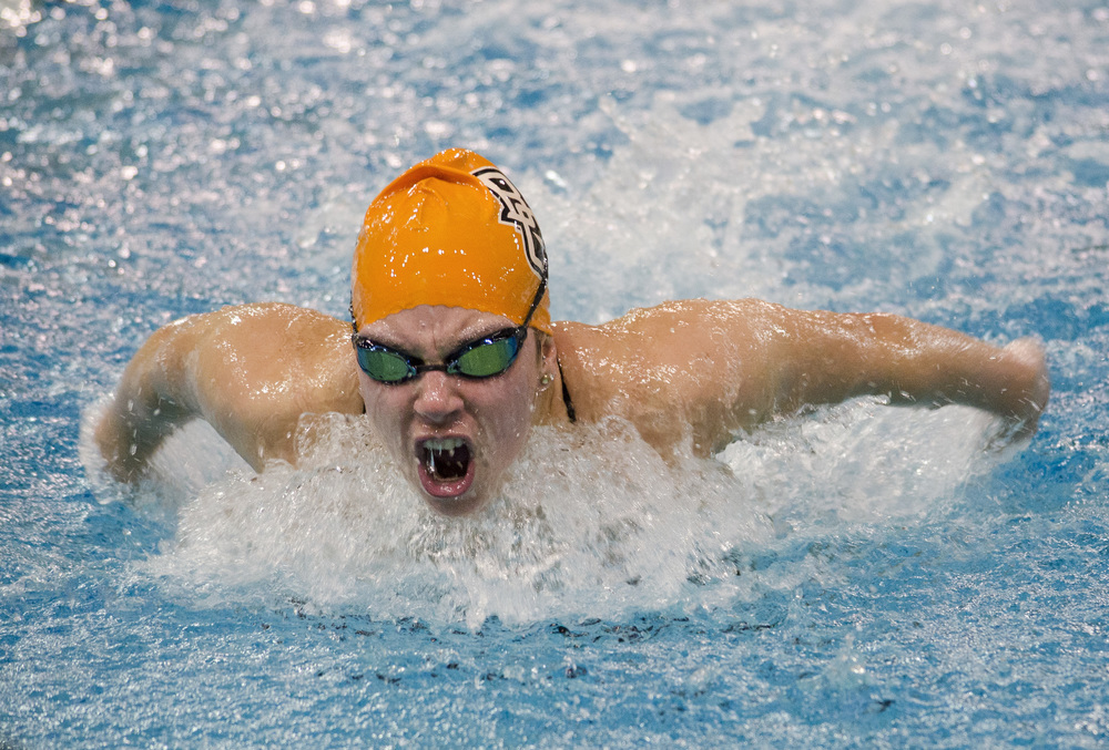 Bowling Green State University's Nicole Hranchook, swims the breaststroke at a meet at Ohio University's Aquatic Center in Athens, Ohio on Friday Jan. 31, 2014.