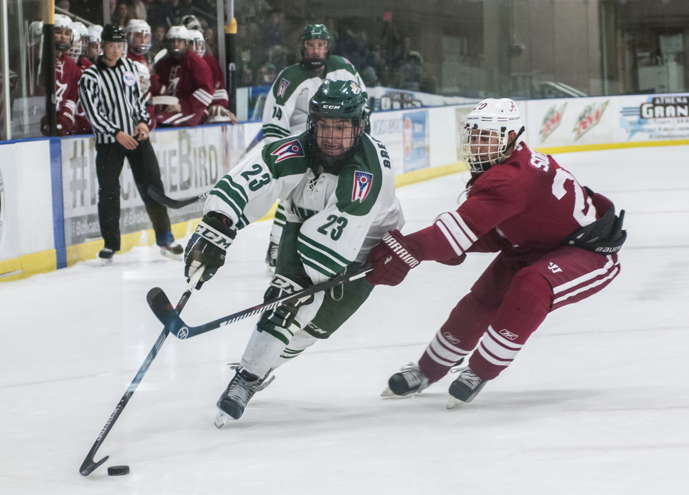 Ohio University's Diego Breckenridge fights for the puck against Alabama University's Ian Soifer at Ohio's Bird Arena on Friday, Nov. 13, 2015 in Athens, Ohio.