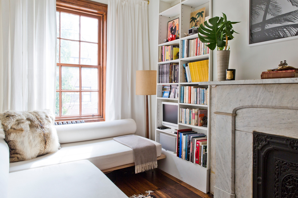 bookcase daybed chelsea nyc apartment interior design studio robert mckinley