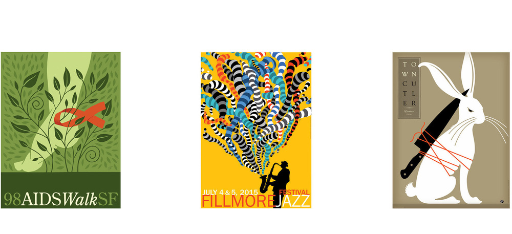^Posters. Aidswalk. Fillmore Jazz Festival. Town Cutler.