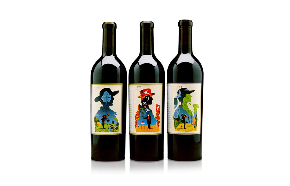 ^ Realm Cellars. Limited-edition wine packaging. Three-part fable on wrap-around labels.