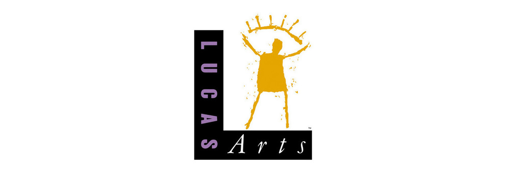 Return of the mascot.  LucasArts trademark. Designed in 1991 for George Lucas' entertainment and gaming company. Initially drawn with a spackling knife and paint, the character intended to avoid the sameness of slickly produced vector design that was springing up at the time (and continues to). Is he holding a sun or does he become an eye? As he became know as the Golden Guy, he served to be animated and perform light-saber wielding gymnastics on gaming screens for years to come. His crusty incarnation would extend until 2005 when he was recreated in a slick vector version.