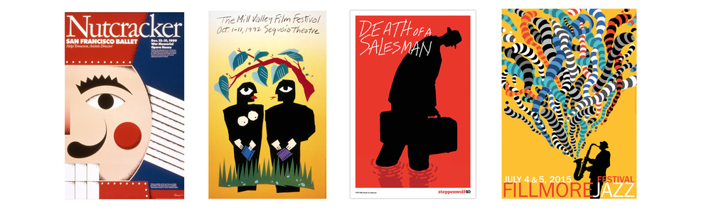 Posters for San Francisco Ballet, Mill Valley Film Festival, Steppenwolf Theatre, Fillmore Jazz Festival.
