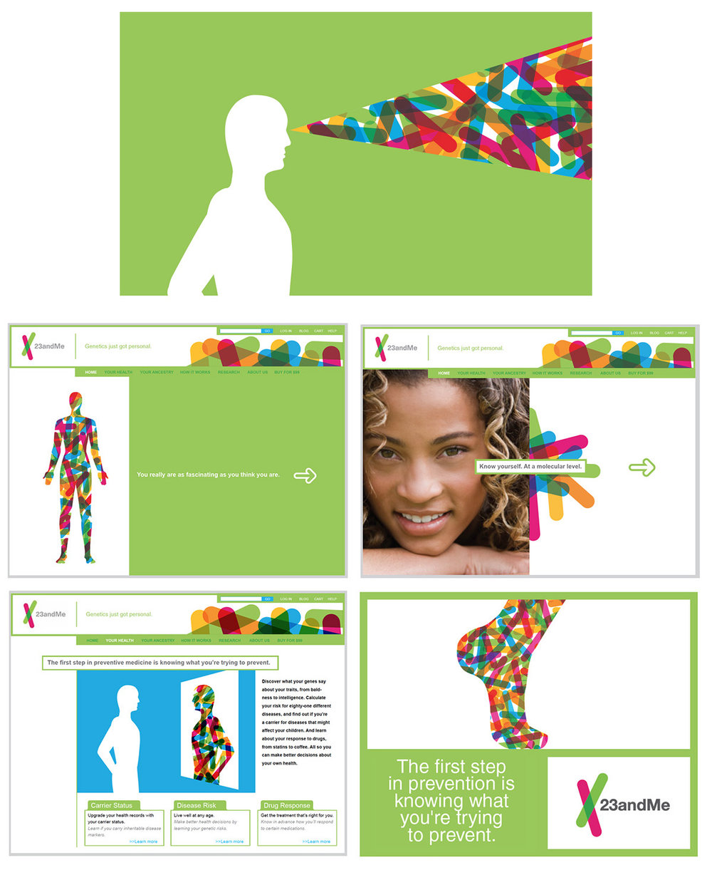 Nothing to spit at.  Whereas 23andMe represents a new paradigm in personal health inquiry and knowledge, their communications (website and advertising) lacked an accessible tone and voice. We consulted with the company on the use of visuals and messaging—with particular emphasis on leveraging their visual identity.