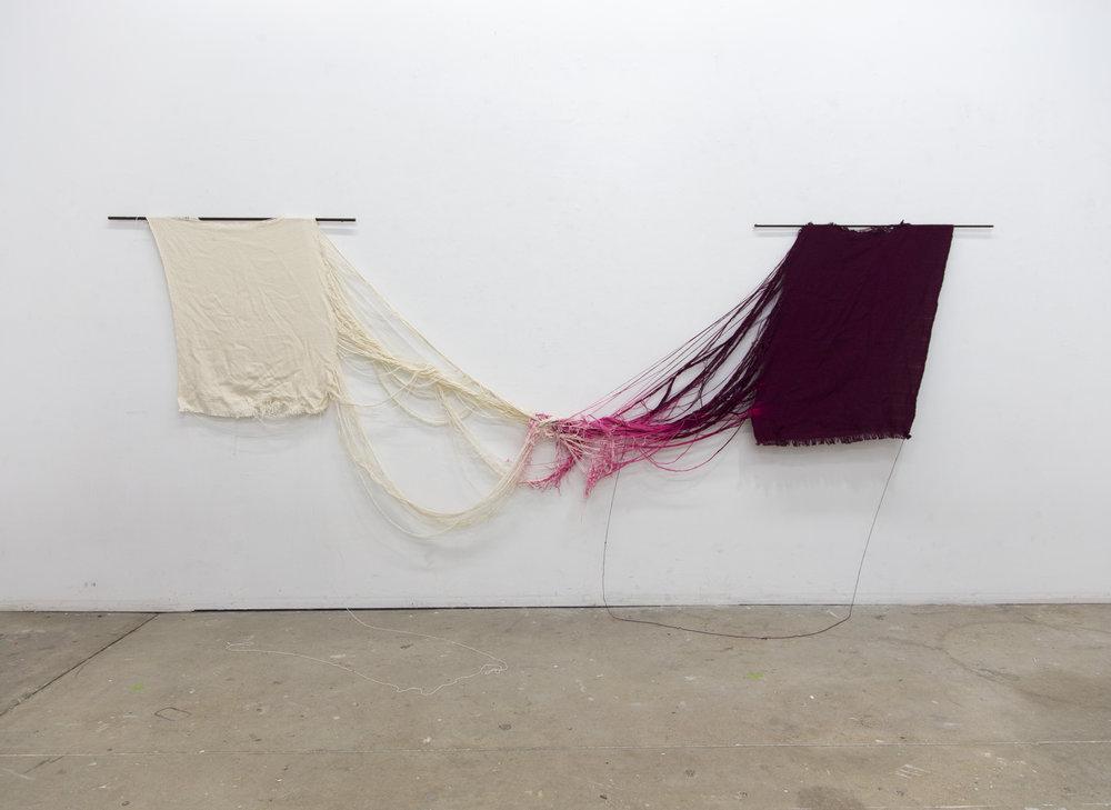 Tumult (Rana)  Woven cotton, bleach, steel. 2017