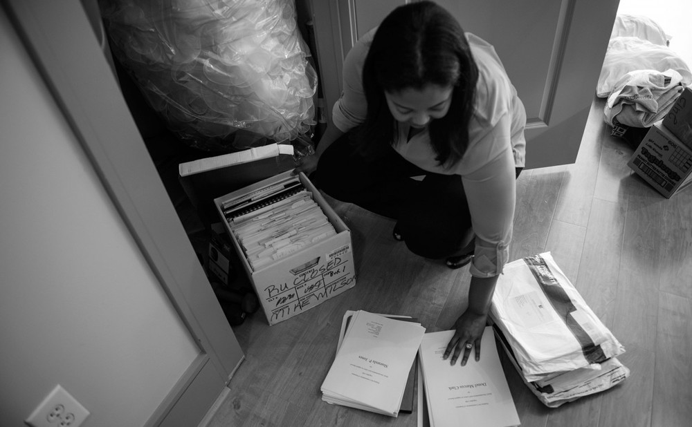 Lawyer Brittany K. Byrd goes through boxes filled with court documents and the clemency petition she filed for Sharanda Jones with the Justice Department and the White House. ''I'm not going to give up. I can't give up,'' Byrd says.