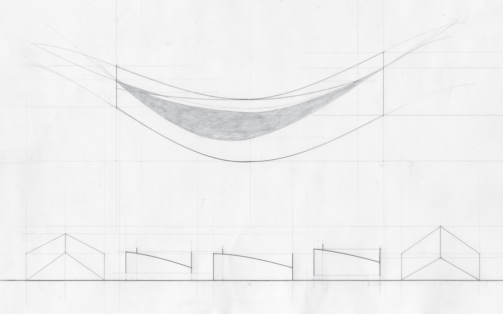 This purely analog drawing has a flattened section on the top, where the shaded area is the horizontal surface the marble moves on. The exploration here was the curves that make up the shape of the structure. The lower half is a series of elevations and sections that cut the structure perpendicularly.