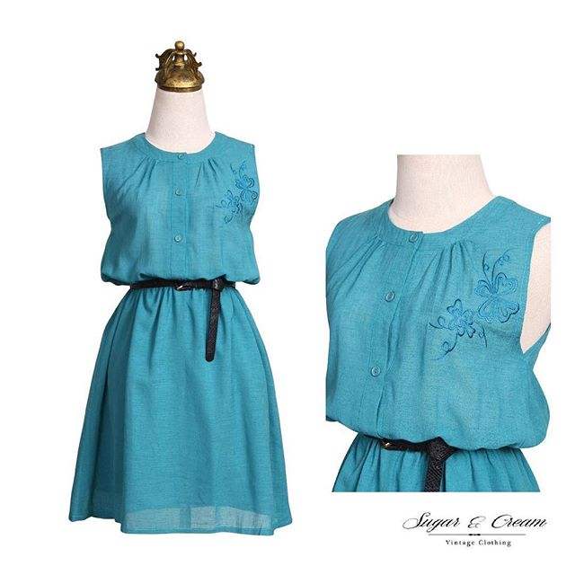 Terribly Turquoise . Shop here : https://goo.gl/Pj0Tyy . Comfort and style are perfectly combined here in this sleeveless, turquoise piece. The round, pleated neck is delicately decorated with a flower embroidery that adds a little something special to this simply perfect piece. #Beunique #Beyourself