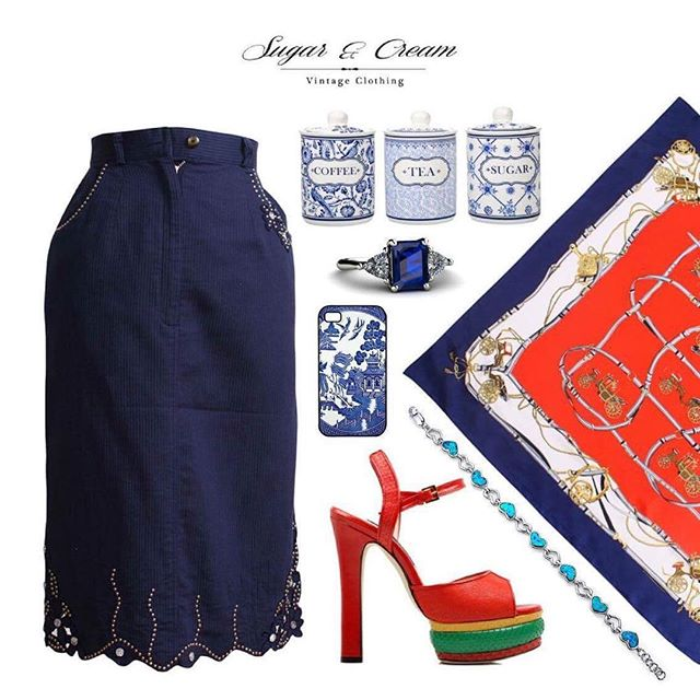 Contrast matching!! When you wear Blue or Navy, Please put the red together to get contrast look!💃🏻 . Pocketed Skirt With Sequin Finish : https://goo.gl/QC89vK . Classic Silk Scarf in Red and Navy: https://goo.gl/Vv0CER. . #Beunique #Beyourself #sugarcreamvintage