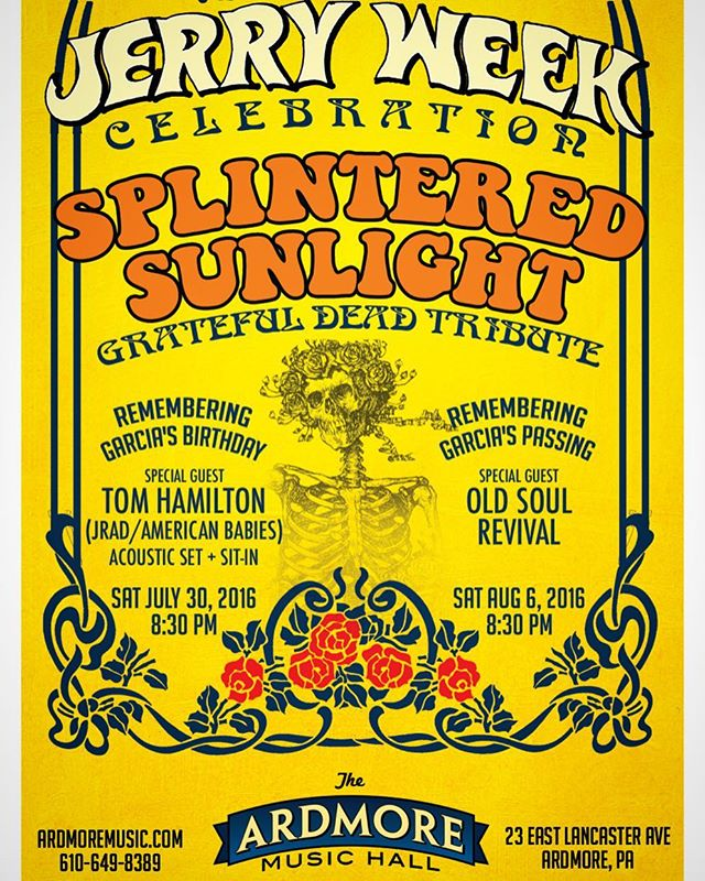 Just Announced: Tom will be playing an acoustic set and sitting in with Splintered Sunlight to celebrate the birthday of Jerry Garcia. Make your travel plans to @ardmoremusichall this Saturday, July 30th!
