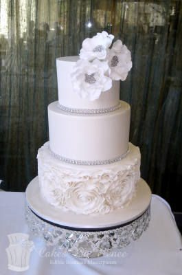 3 tier wedding cake white ivory rosettes ruffles flowers bling cake stand.png