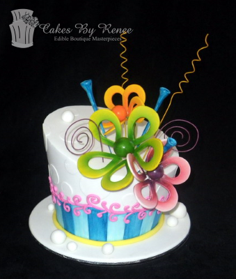 white fun cake birthday engagement celebration colourful flower exposion.png