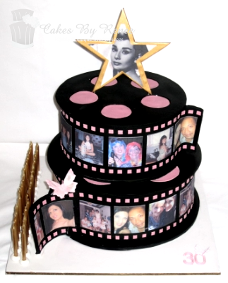 2 tier birthday cake hollywood movie stars movie reels.png