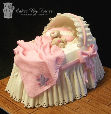 baby shower cake crib bed old time cot bassinet.png