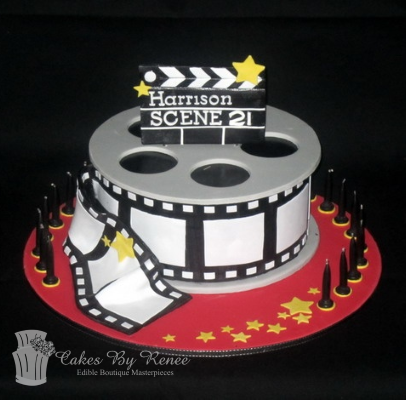 movie night lover birthday cake 21st reel film movies hollywood.png
