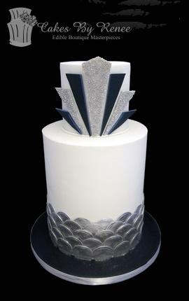 Jul 23 - Springtime art deco navy blue and silver wedding cake.jpg