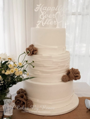 3 tier white wedding cake rustic vintage modern hessian.png