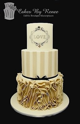 3 tier wedding cake latte white ruffles monogram stripes.jpg