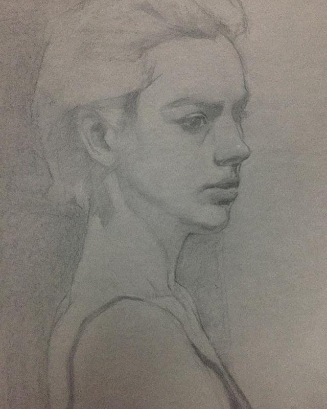 In progress portrait from life