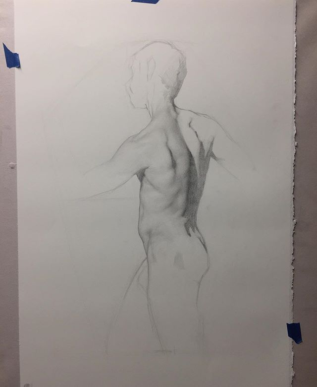 Figure study in progress in preparation for a painting