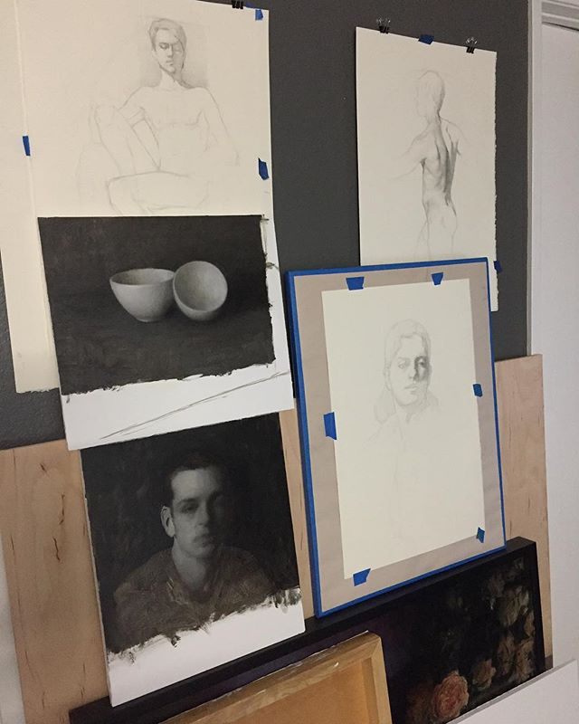 Wall with small in progress works. All are studies to help me understand the figure, portrait, still life better. Going back to the fundamentals.