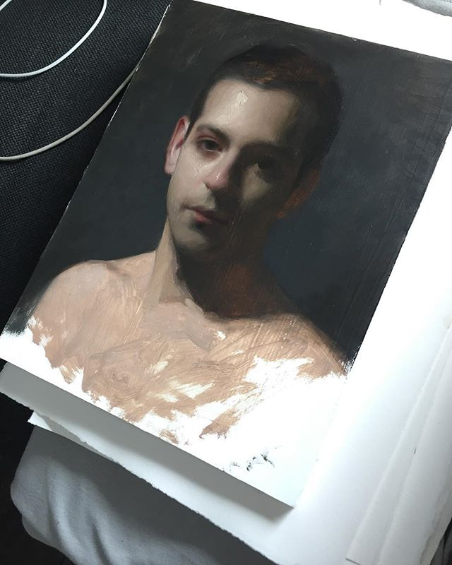 In progress portrait I've been working on from an old photo set as practice for a piece I'll be starting soon.