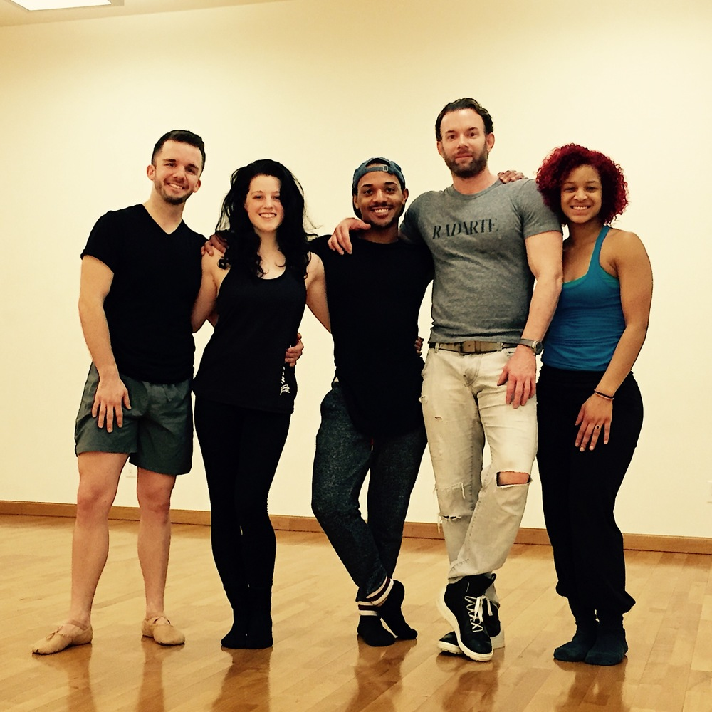 Eryc in the studio with Timothy's dancers Elliot, Carrina, and Sharon
