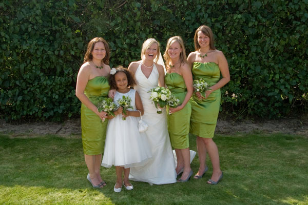 Beth and her bridesmaids and flower girl