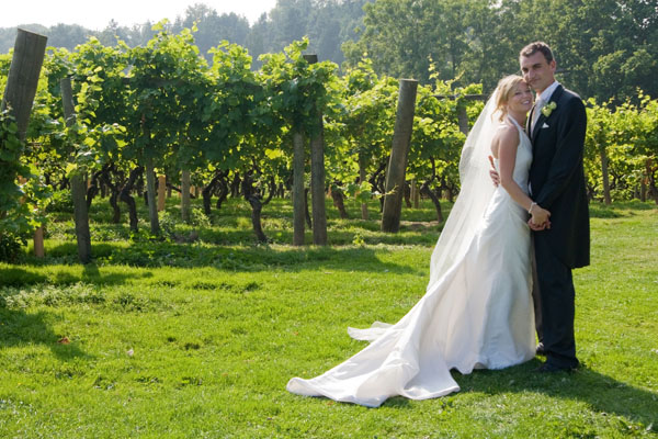 Beth & Sam in the vineyard