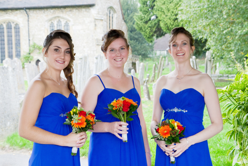 Royal Blue Bridesmaids Dresses, Helen England Photography, Kent, U.K