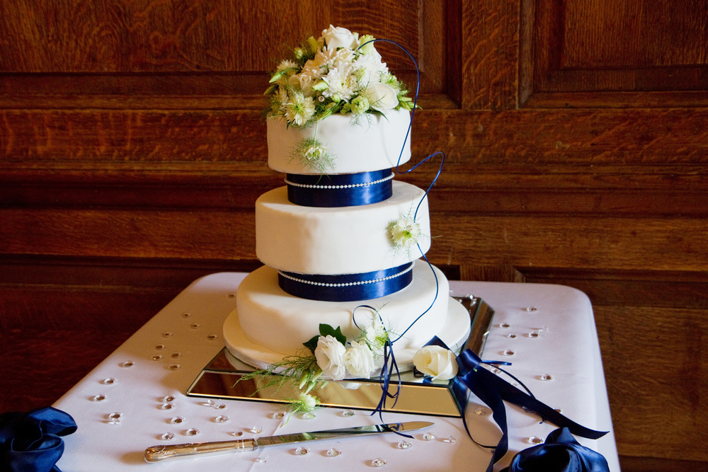 Three Tiered Ivory & Navy Wedding Cake, Helen England Photography, Kent, U.K