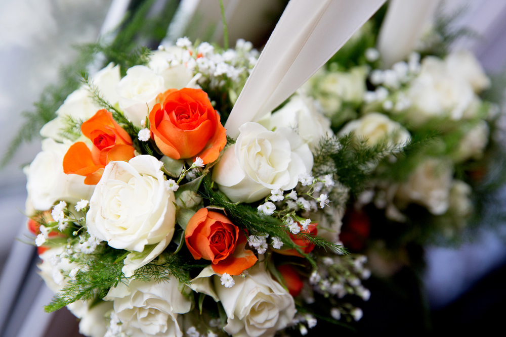 Orange & White Bridal Bouquet, Helen England Photography, Kent, U.K
