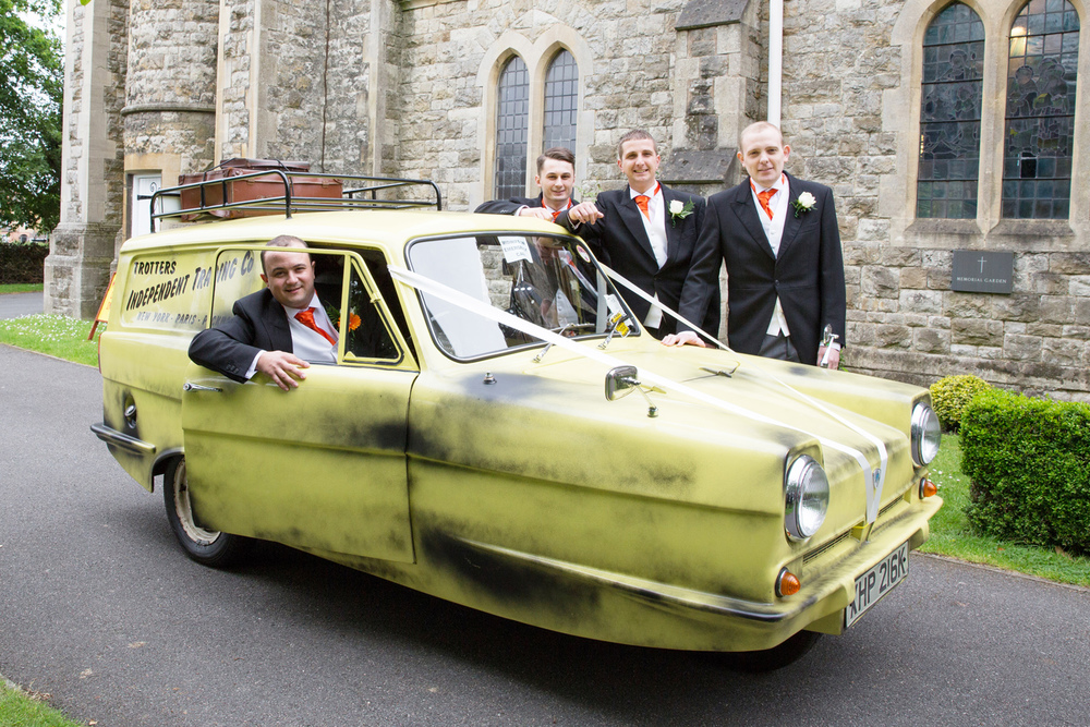 Robin Reliant Wedding Car, Helen England Photography, Kent, U.K