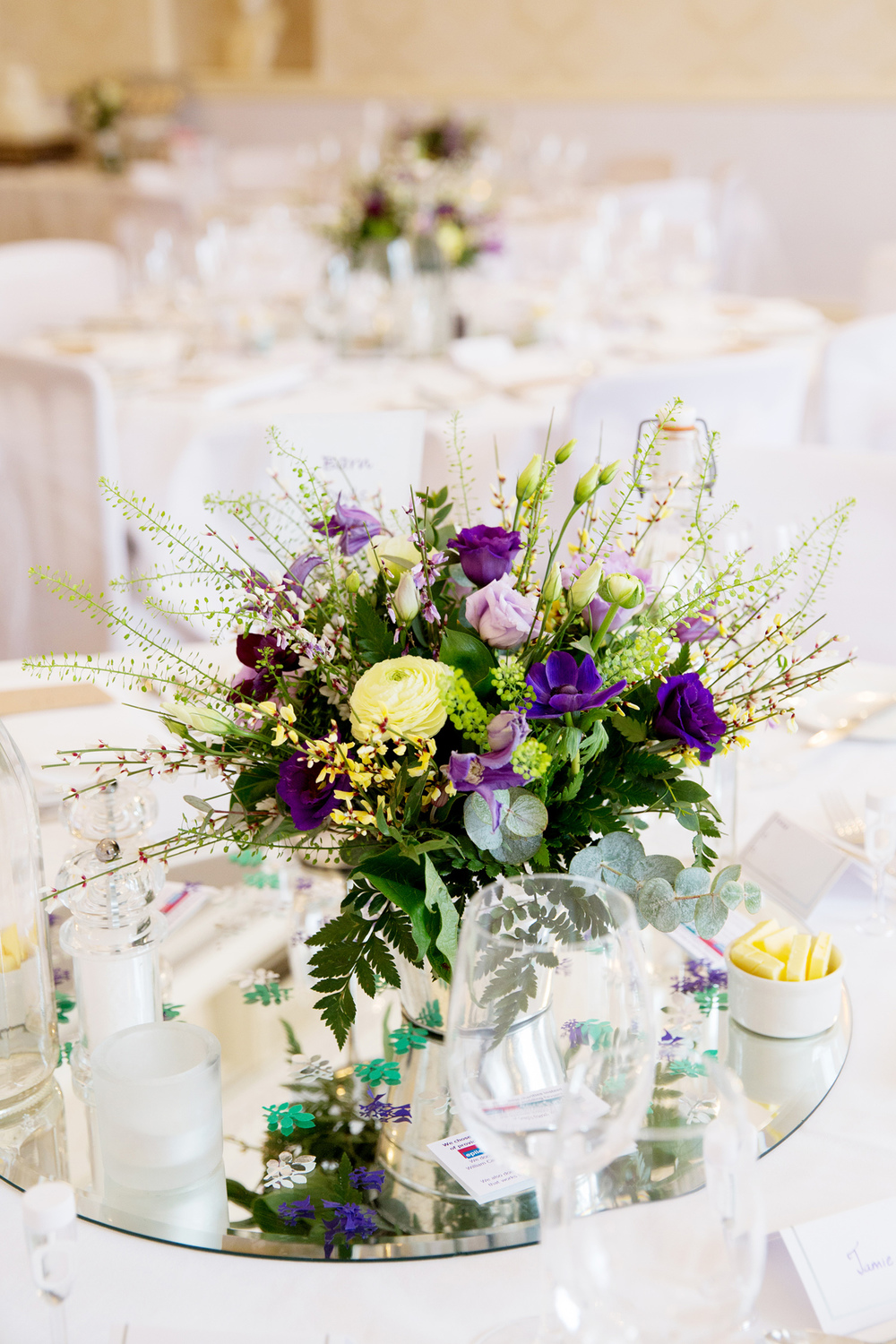 Yellow & Purple Wedding Centrepieces, Helen England Photography, Kent, U.K