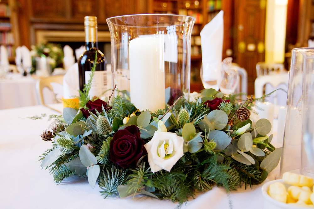 Winter Wedding Centrepiece, Helen England Photography, Kent, U.K