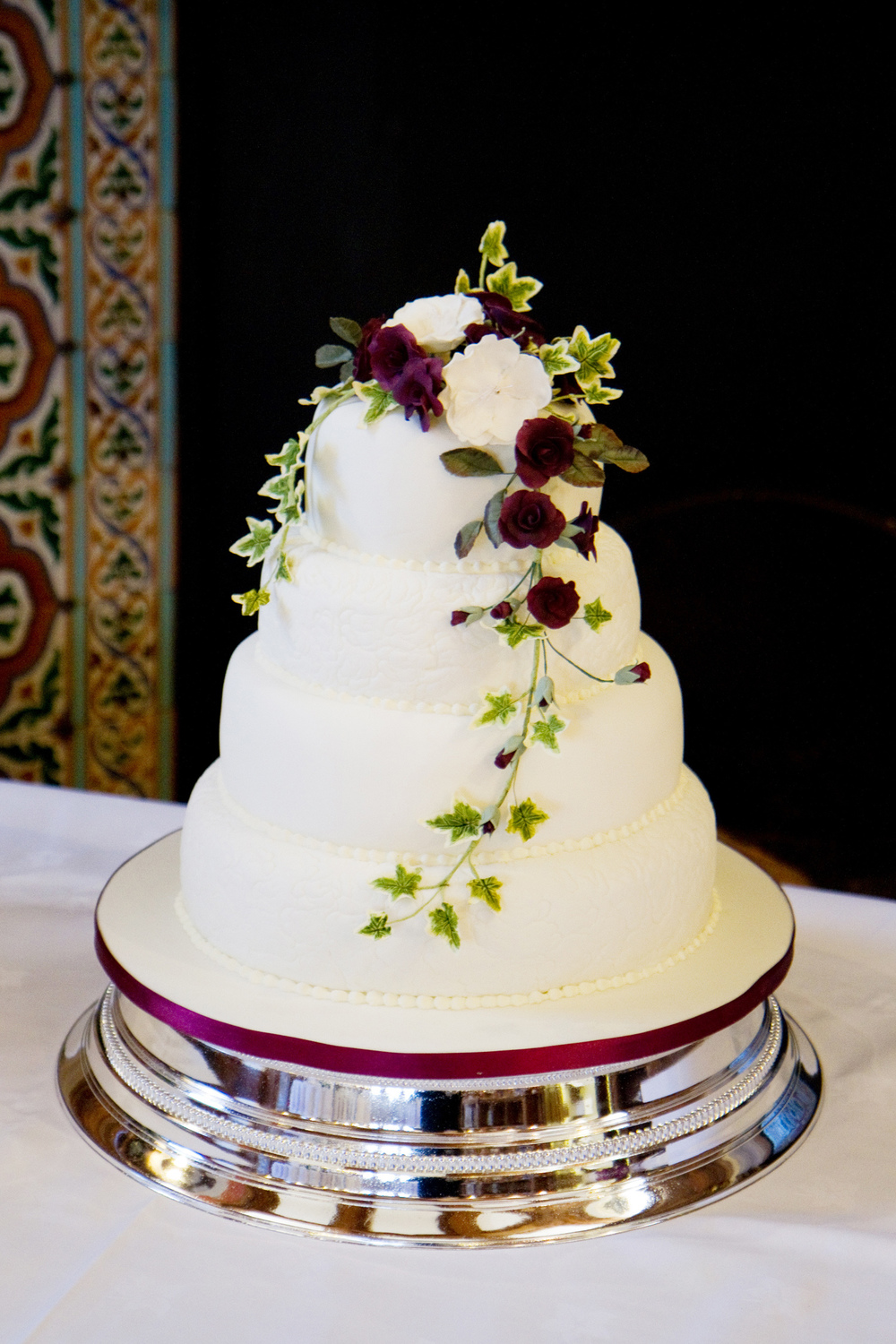 Red Rose Four Tier Wedding Cake, Helen England Photography, Kent, U.K