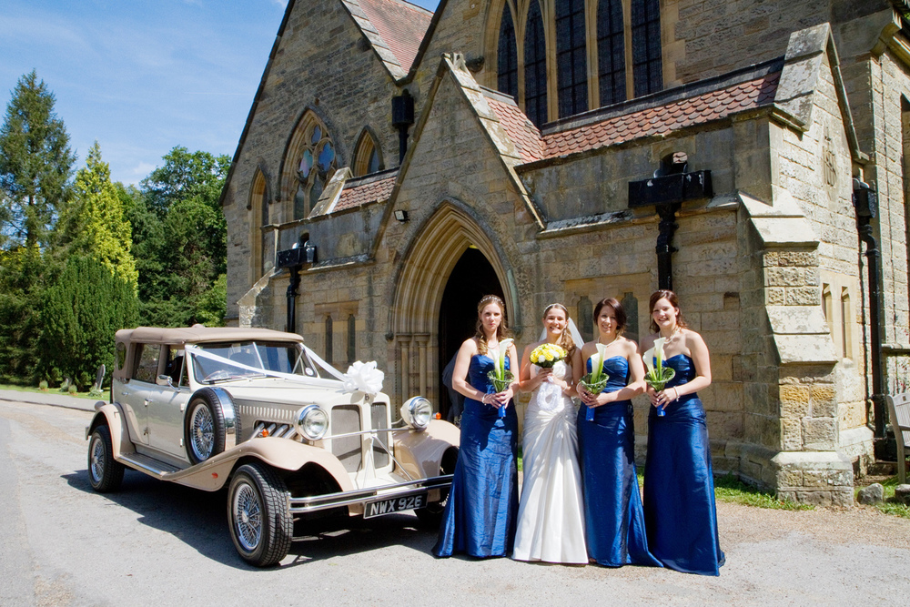 Blue Bridesmaid Dresses, Vintage Car, Helen England Photography, Kent, U.K